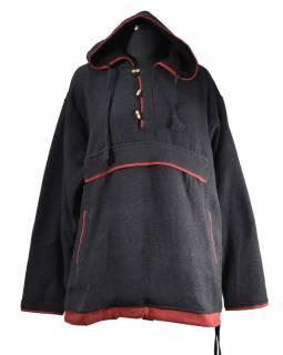Pánský černý anorak s kapucí a kapsami