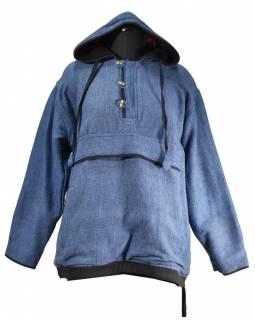 Pánský modrý anorak s kapucí a kapsami