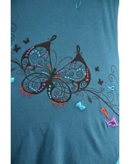 Krátké petrolejové šaty s dlouhým rukávem, Butterfly design, výšivka