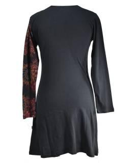 Černo-červené šaty s dlouhým rukávem, mandalový potisk, kulatý výstřih