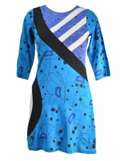 Tyrkysové šaty s tříčtvrtečním rukávem, Natural design, potisk