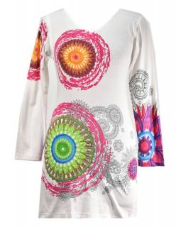 """Bílé šaty s dlouhým rukávem """"Mandala"""", barevný potisk, výstřih do V"""