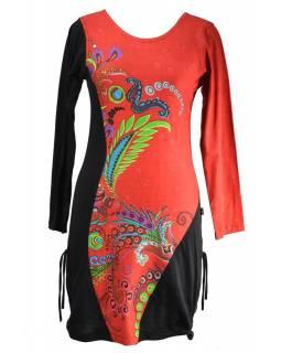 Černo-červené šaty s dlouhým rukávem a potiskem květin, šňůrka