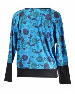 Modré tričko s kimonovým rukávem, barevný floral potisk