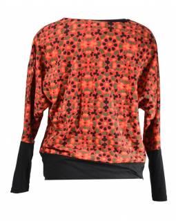 Červené tričko s kimonovým rukávem, barevný floral potisk