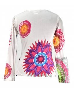 Bílé tričko s dlouhým rukávem, Mandala potisk, kulatý výstřih