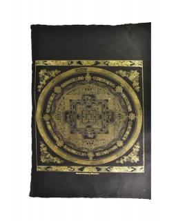 Kalachakra mandala, zlatý tisk na černém ručním papíru, 50x75cm