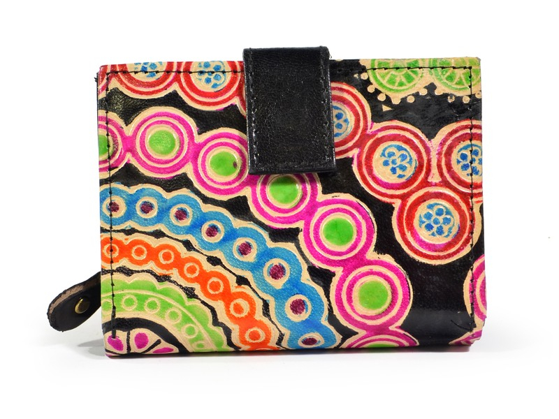 """Peněženka design """"Mala"""", ručně malovaná kůže, černá, 9x12cm"""