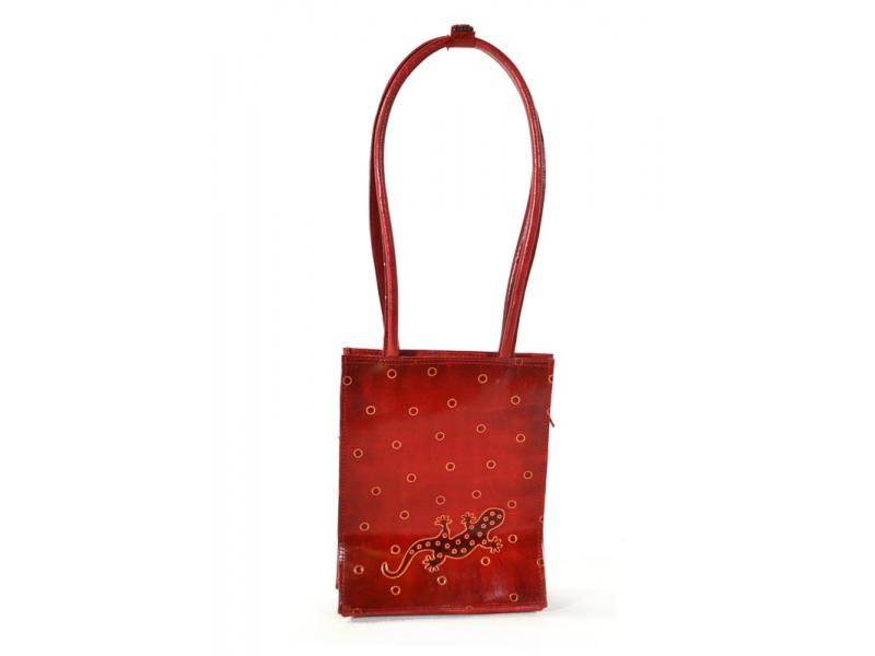 Taška, červená, malovaná kůže - ještěrka s puntíky