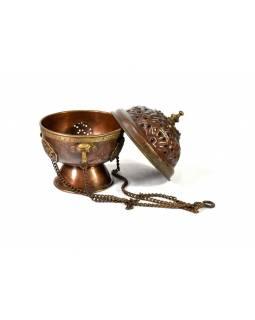 Měděný stojánek na kadidlo, závěsný,  kulatý, 10x10x13cm