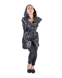 Černo-šedý kabát s kapucí zapínaný na zip, barevný mandala potisk, k
