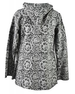 Černý kabát s kapucí zapínaný na knoflík, kapsy, celopotisk