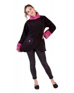 Černo-růžový fleecový kabát s potiskem zapínaný na knoflík, výšivka, kapsy