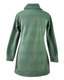 Zelený fleecový kabát zapínaný na knoflíky, barevný květinový design, kapsy