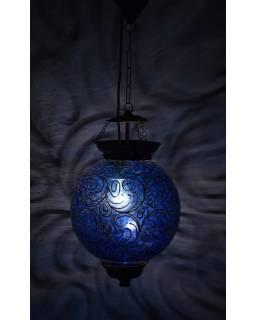 Kulatá skleněná lampa zdobená zlatými ornamenty, modrá, 25x35cm