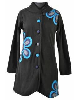 Černý fleecový kabát zapínaný na knoflíky, barevný květinový design, kapsy