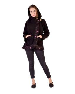 Černo-růžový fleecový kabát s kapucí zapínaný na knoflík, leaves design, výšivka