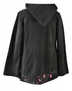 Černo-růžový fleecový kabát s kapucí zapínaný na knoflík, leaves design a výšivk