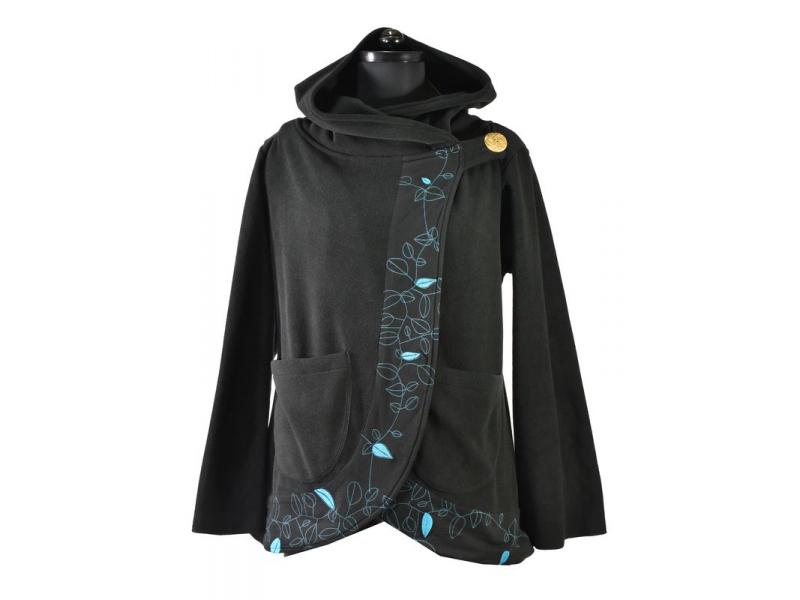 Černo-tyrkysový fleecový kabát s kapucí zapínaný na knoflík, leaves design a výš