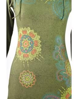 Khaki šaty s dlouhým rukávem a vysokým límcem, Floral design, potisk a výšivka