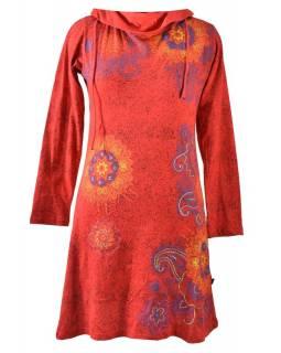 Červené šaty s dlouhým rukávem a vysokým límcem, Floral design, potisk a výšivka