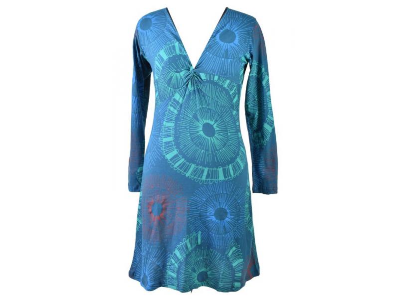 Modré šaty s dlouhým rukávem, mandalový potisk, V výstřih
