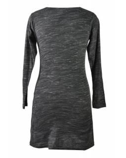 Černo-vínové šaty s dlouhým rukávem, Natural design, výšivka