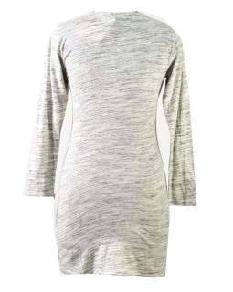Šedo-černé šaty s dlouhým rukávem, Natural design, výšivka