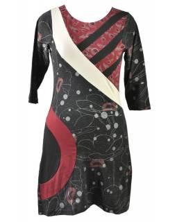 Černo-vínové šaty s tříčtvrtečním rukávem, Natural design, potisk