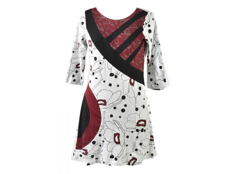 Bílo-vínové šaty s tříčtvrtečním rukávem, Natural design, potisk