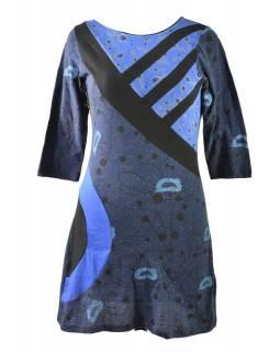 Modré šaty s tříčtvrtečním rukávem, Natural design, potisk