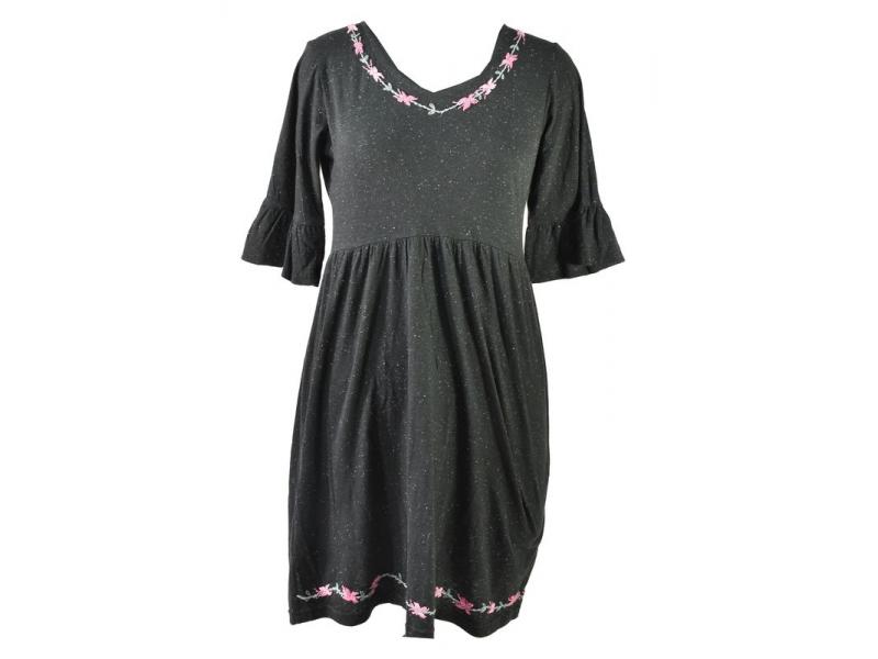 Černé šaty s tříčtvrtečním rukávem, výšivka, Natural design