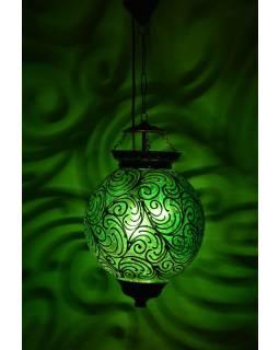 Kulatá skleněná lampa zdobená zlatými ornamenty, zelená, 25x35cm
