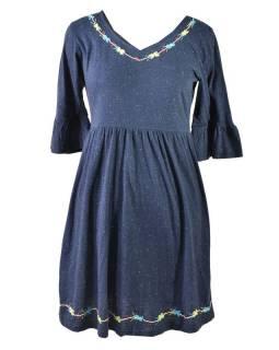 Tmavě modré šaty s tříčtvrtečním rukávem, výšivka, Natural design