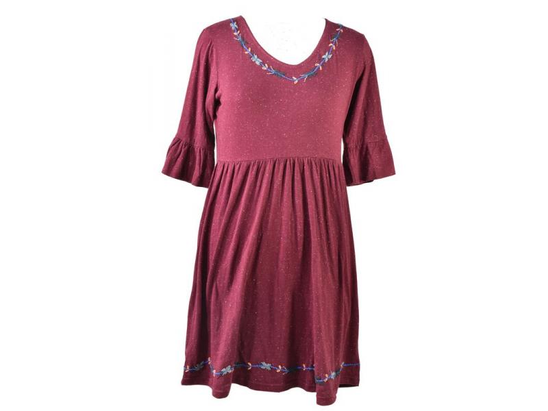 Vínové šaty s tříčtvrtečním rukávem, výšivka, Natural design