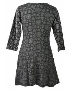 Černé šaty s tříčtvrtečním rukávem a celopotiskem mandal, sklady na boku, výšivk