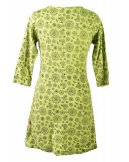 Zelené šaty s tříčtvrtečním rukávem a celopotiskem mandal, sklady na boku, výši