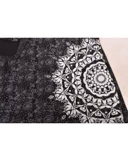 Polodlouhá černo-šedá sukně zapínaná na patentky, mandala potisk
