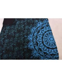 Polodlouhá černo-modrá sukně zapínaná na patentky, mandala potisk