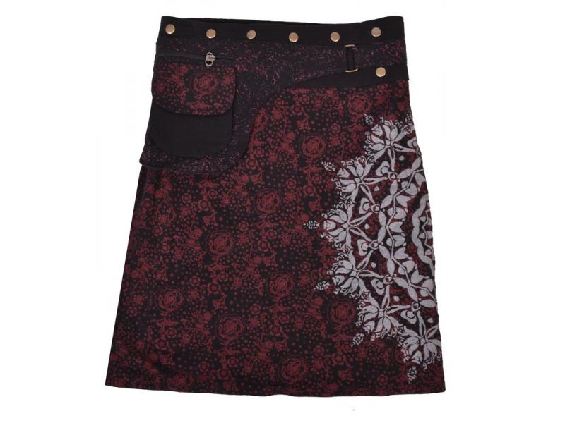 Polodlouhá černo-vínová sukně zapínaná na patentky, mandala potisk