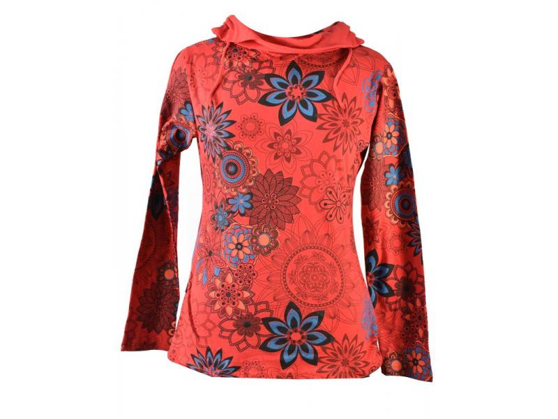 Červené tričko s dlouhým rukávem a límcem, flower design