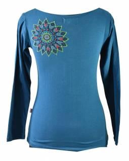 Petrolejové tričko s dlouhým rukávem, barevný mandala potisk