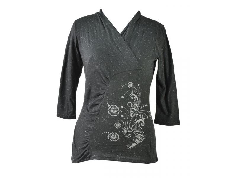 Černé tričko s tříčtvrtečním rukávem, floral potisk, Natural design