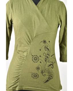 Zelené tričko s tříčtvrtečním rukávem, floral potisk, Natural design