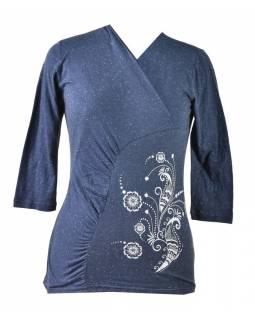 Tmavě modré tričko s tříčtvrtečním rukávem, floral potisk, Natural design