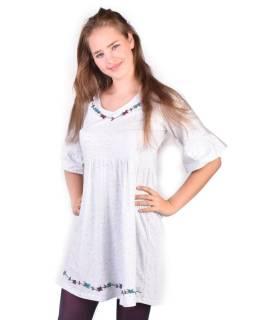 Bílé šaty s tříčtvrtečním rukávem, výšivka, Natural design