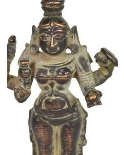 Parwati, antik mosazná soška, patina, 9cm