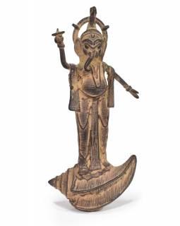 Ganéš, antik mosazná soška, patina, 16cm