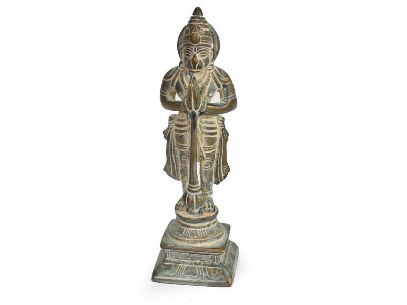 Hanuman, antik mosazná soška, patina, 17cm