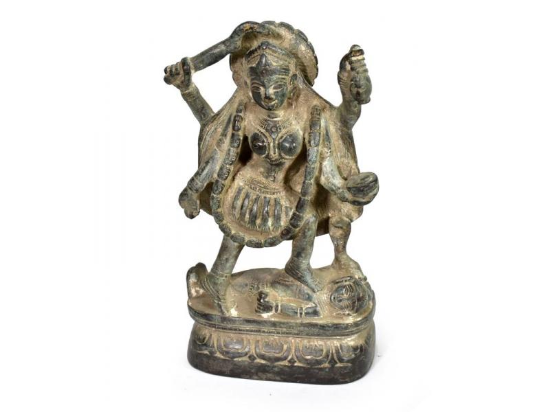 Kálí, antik mosazná soška, patina, 16cm